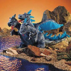 Dragon, Blue Three-headed Hand Puppet