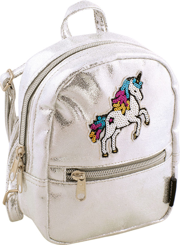 Fashion Angels Silver Shimmer Unicorn Micro-Mini Backpack