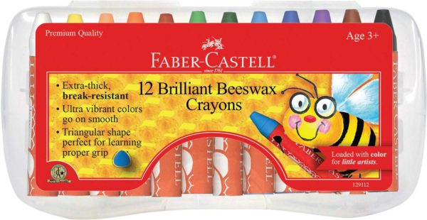 12ct Brilliant Beeswax Crayons in Storage Case