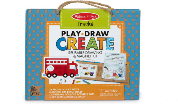 Natural Play: Play, Draw, Create Reusable Drawing & Magnet Kit - Trucks