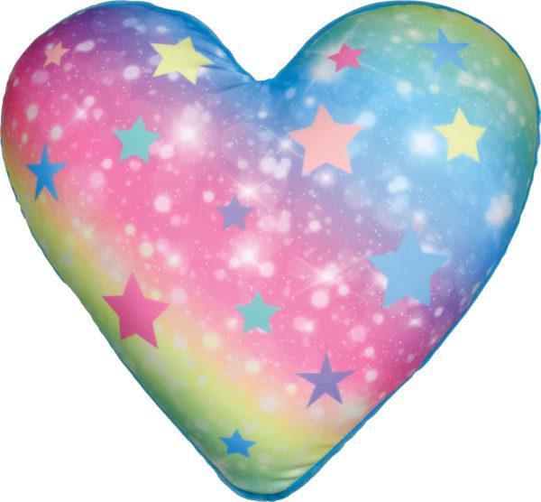 Shimmering Rainbow Heart Pillow