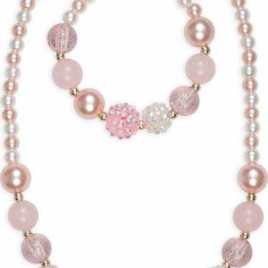 Pinky Pearl Necklace Bracelet Set