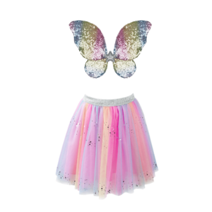 Rainbow Sequins Skirt, Wings & Wand