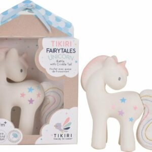 Cotton Candy Unicorn - Natural Organic Rubber Rattle With Crinkle Tail