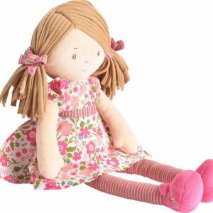 Fran - Light Brown Hair With Dark Pink & Green Dress