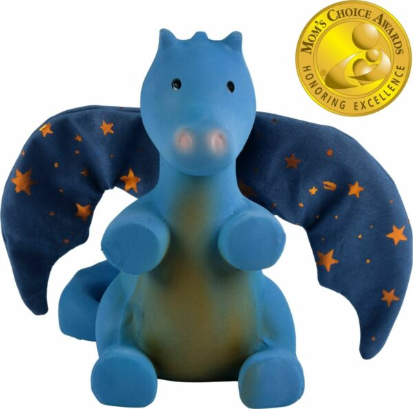 Midnight Dragon - Natural Rubber Organic Rattle With Crinkle Wings